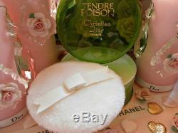 100%authentic Huge Dior Tendre Poison Vintage Perfumed Talc Dusting Powder &puff