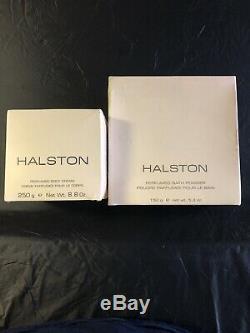 Halston Perfumed Bath Dusting Powder 5.3 oz & Perfumed Body Cream 8.8 oz NIB