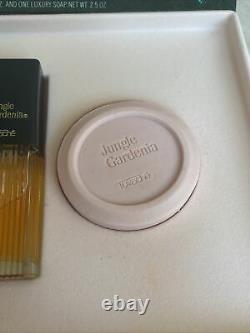 Jungle Gardenia Tuvache Gift Set. 75 Oz Cologne Perfumed Dusting Powder Soap