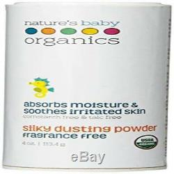 Natures Baby Organics Silky Dusting Powder Fragrance Free 4-Ounce Container Natu