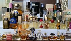 Perfume Lot of 60 Womens Perfumes Mini Size partial & some fullDusting Powders