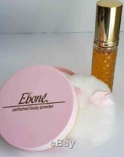 RARE Vtg Fashion Fair Ebone' 2 oz Cologne Spray 4 oz Perfume Dusting Powder Set