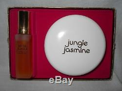 Rare Vintage Jungle Jasmine Tuvache Cologne & Perfume Dusting Powder Gift Set
