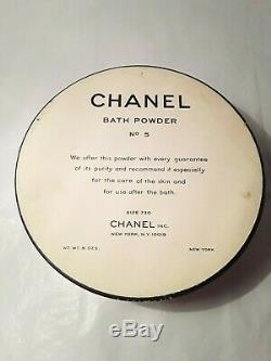 Vintage COCO CHANEL NO 5 Perfumed Dusting Bath Powder 8 oz Nearly Full Puff Logo