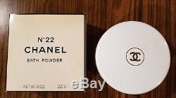 Vintage NOS Sealed Chanel No 22 Perfume Dusting Bath Powder Box 8 oz Pre Barcode